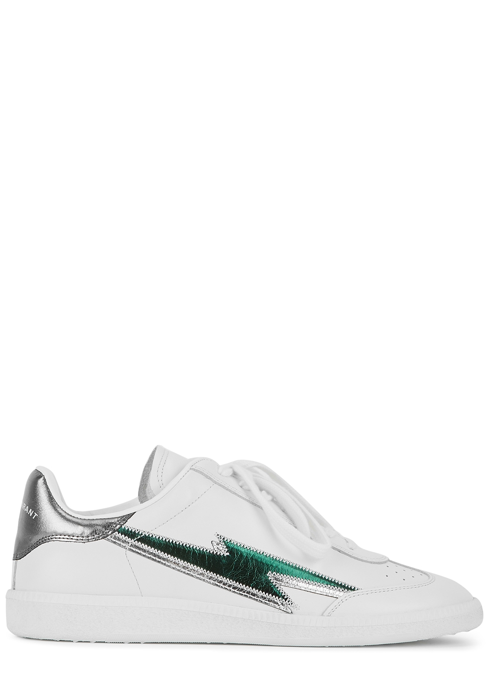Bryce white appliquéd leather sneakers