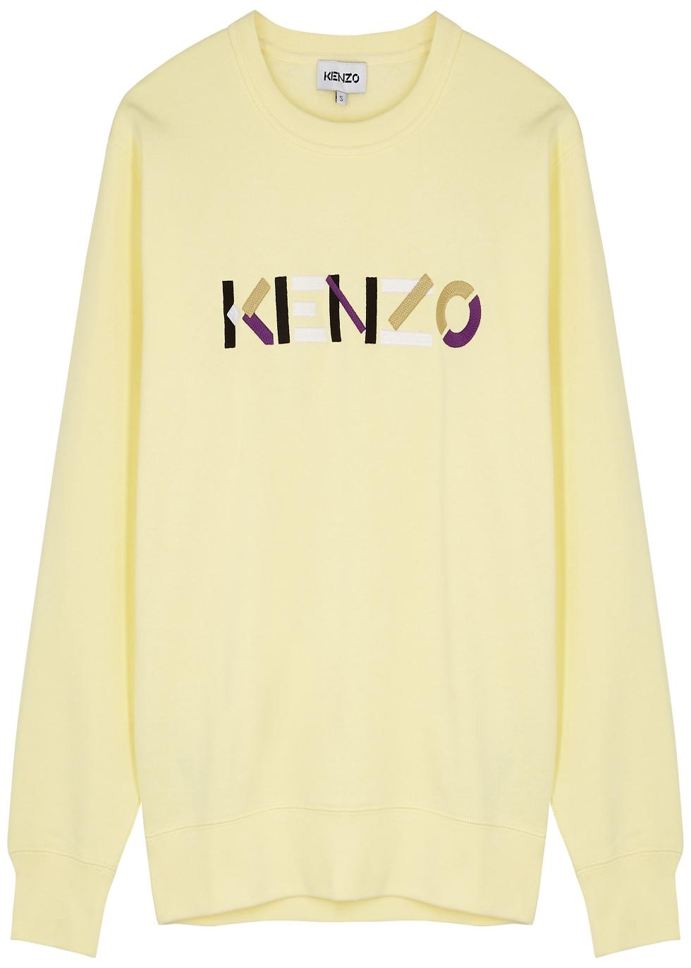 Yellow logo-embroidered cotton sweatshirt