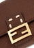 Brown logo leather wallet-on-chain - Fendi