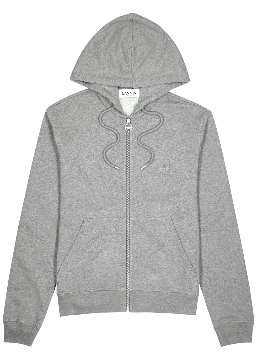 Grey logo-print hooded cotton sweatshirt