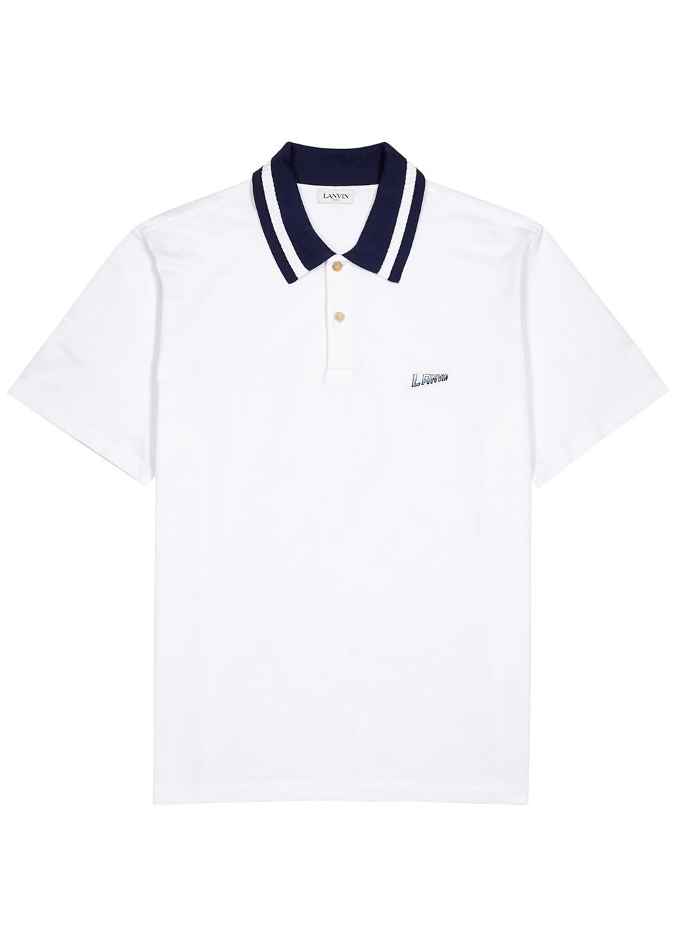 White piqué cotton polo shirt