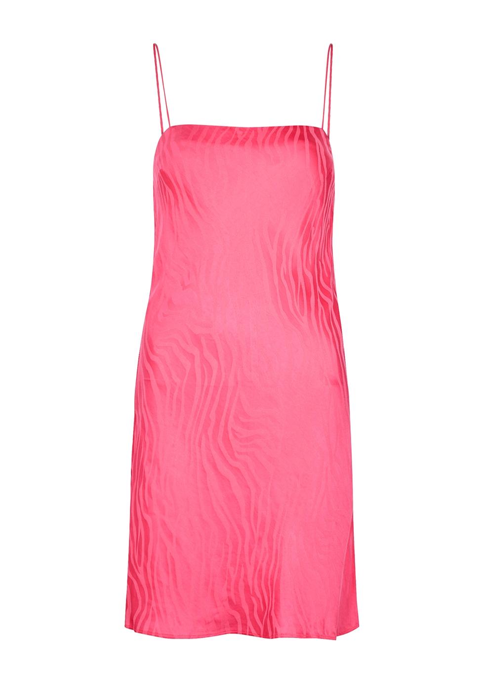 Line pink zebra-jacquard satin mini dress