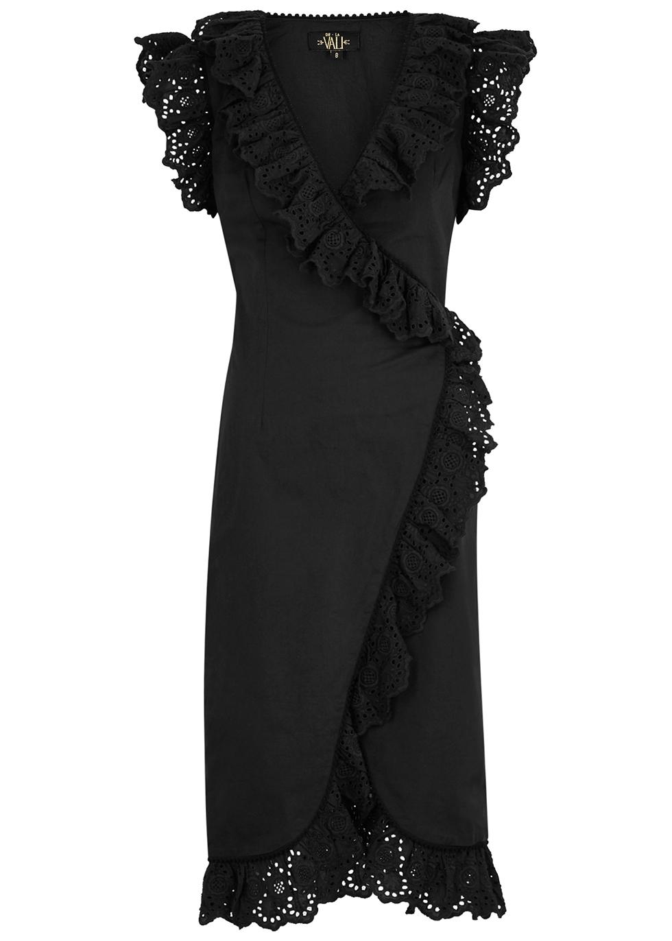 Cadaques ruffled-trimmed cotton wrap dress