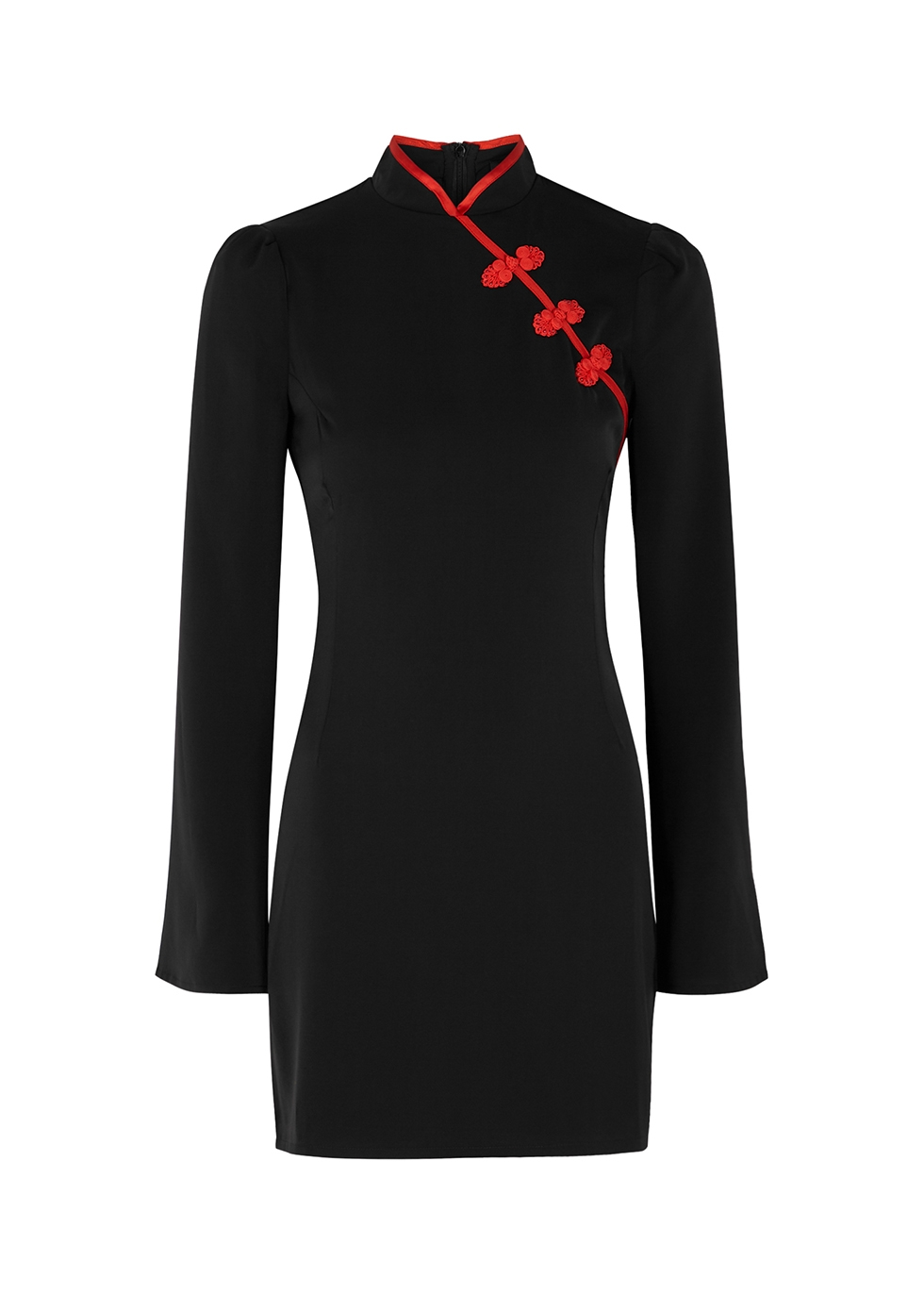 Cleo black matte satin mini dress
