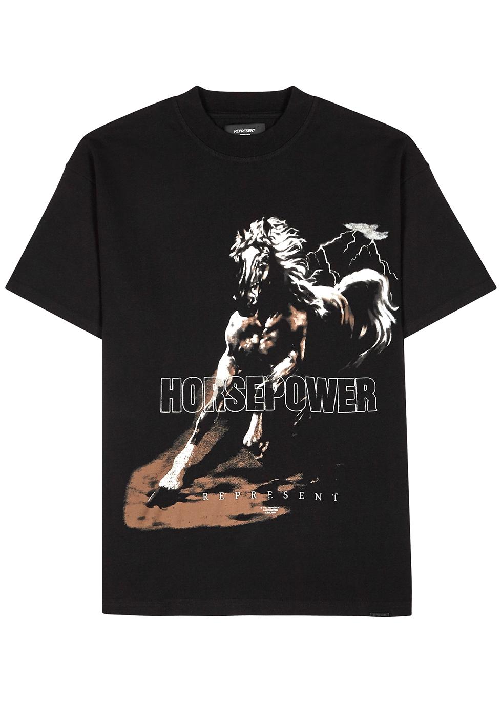 Horsepower black printed cotton T-shirt