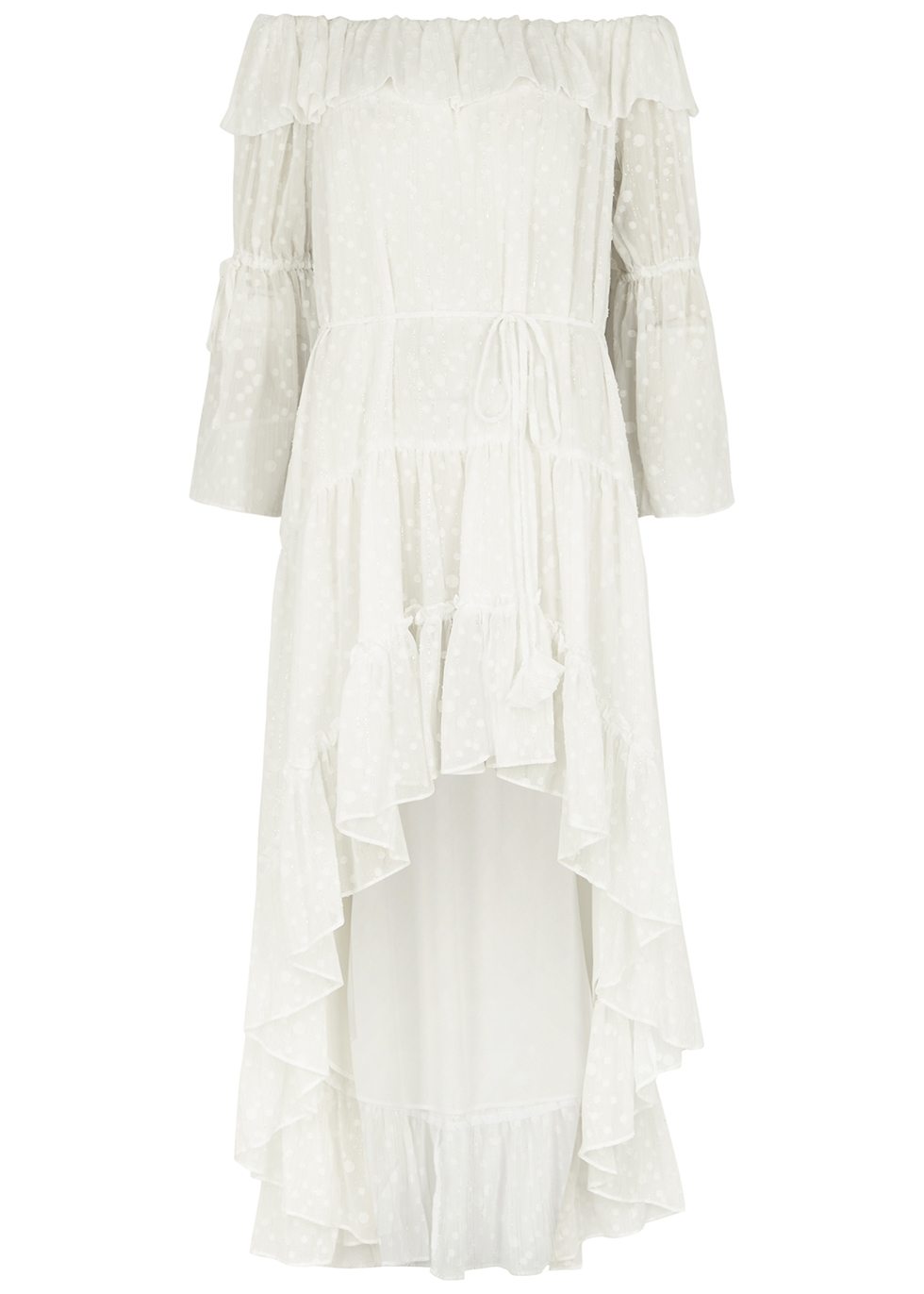 Aerin off-white ruffle-trimmed chiffon midi dress