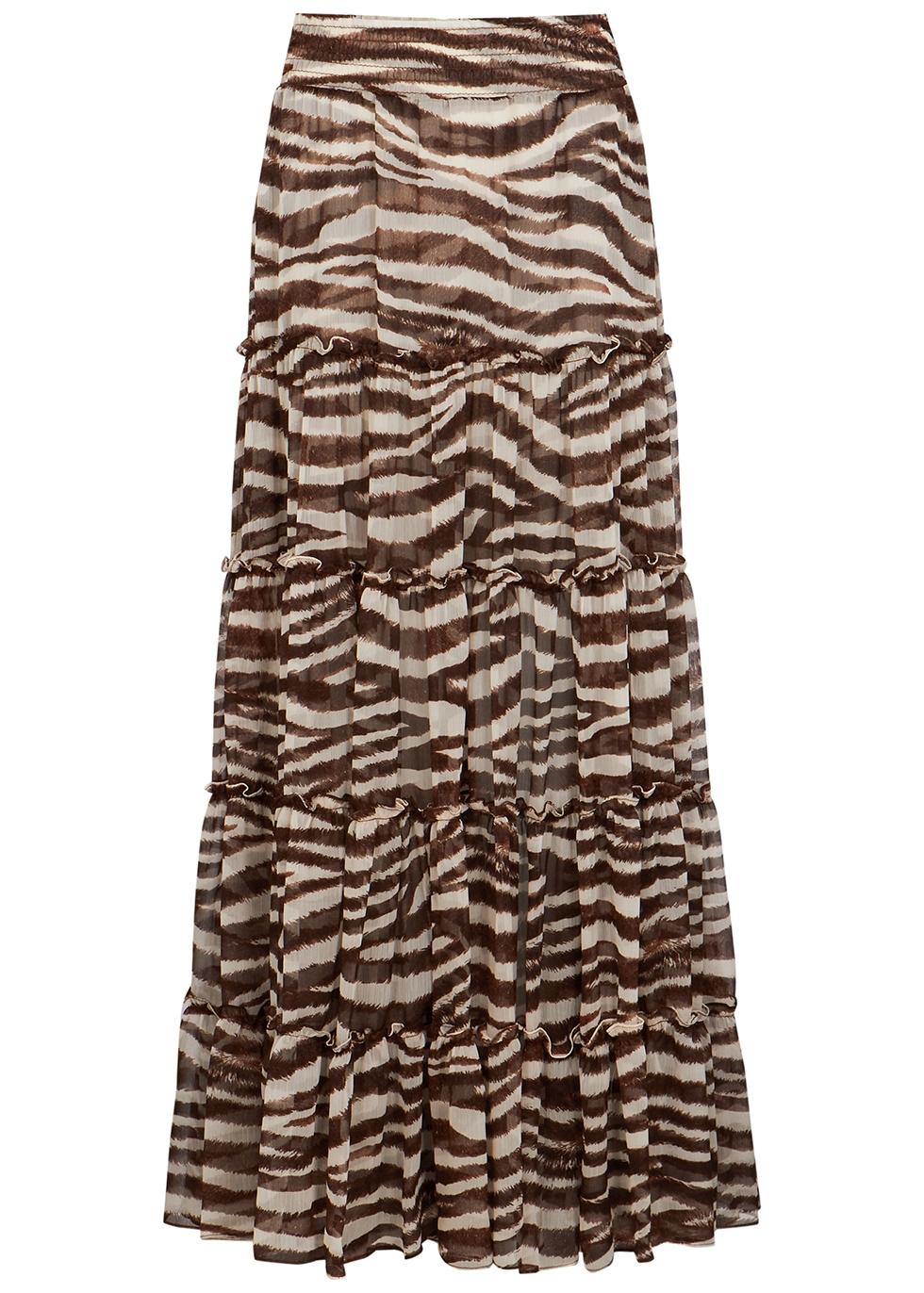 Ananda zebra-print chiffon maxi skirt