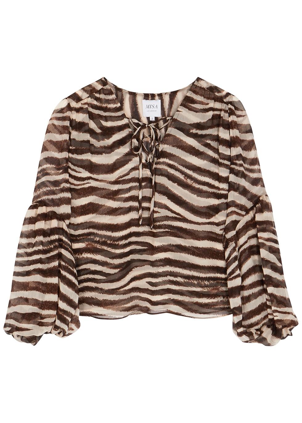 Alessa zebra-print chiffon blouse