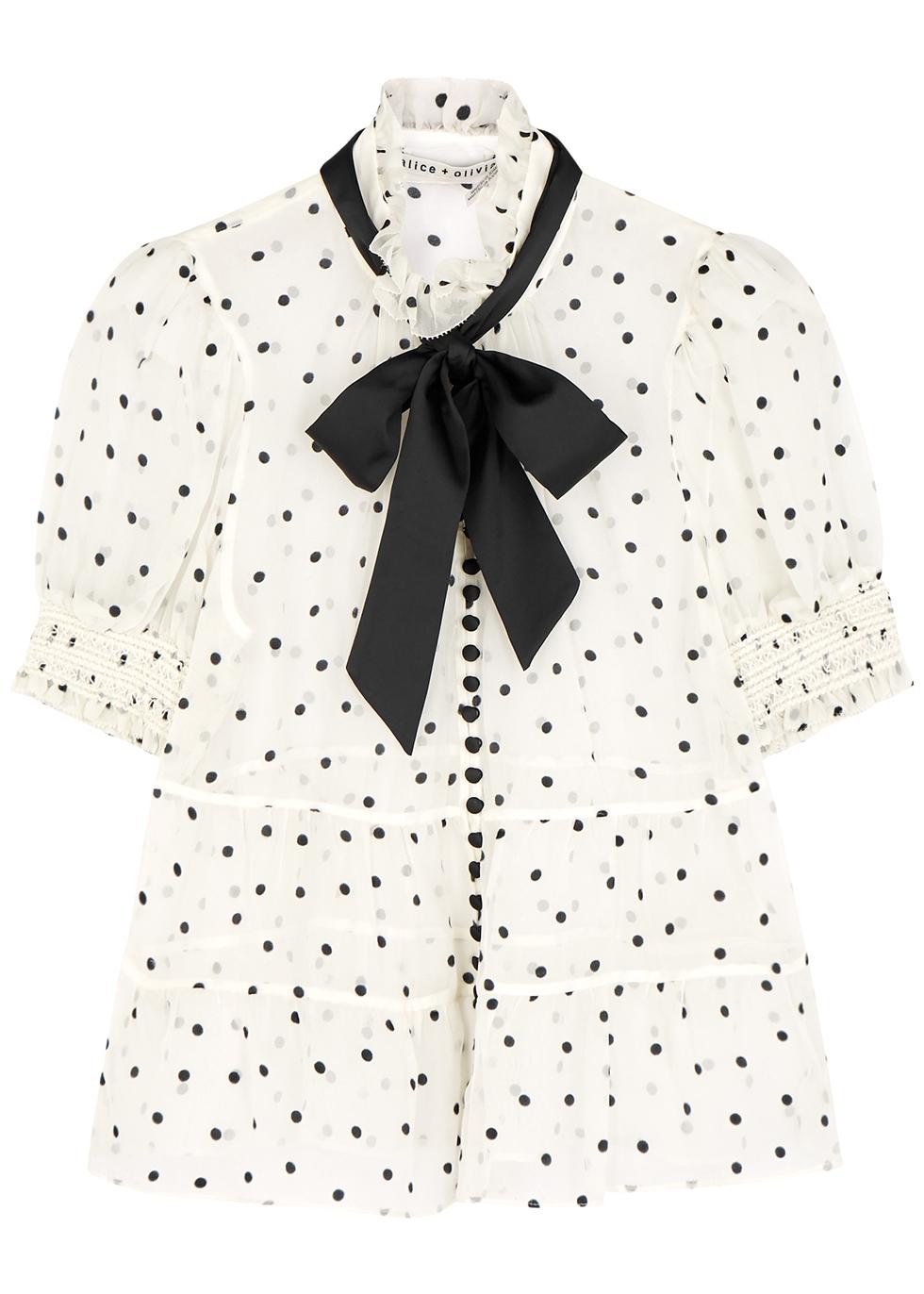 Vicky polka-dot silk-blend blouse