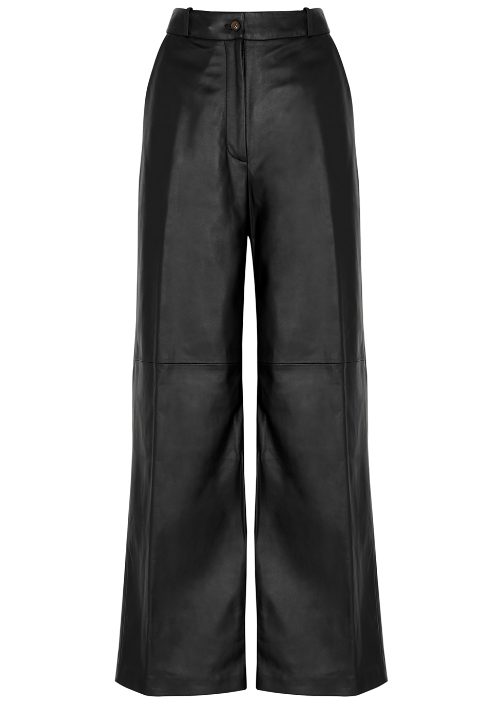 Noro black wide-leg leather trousers