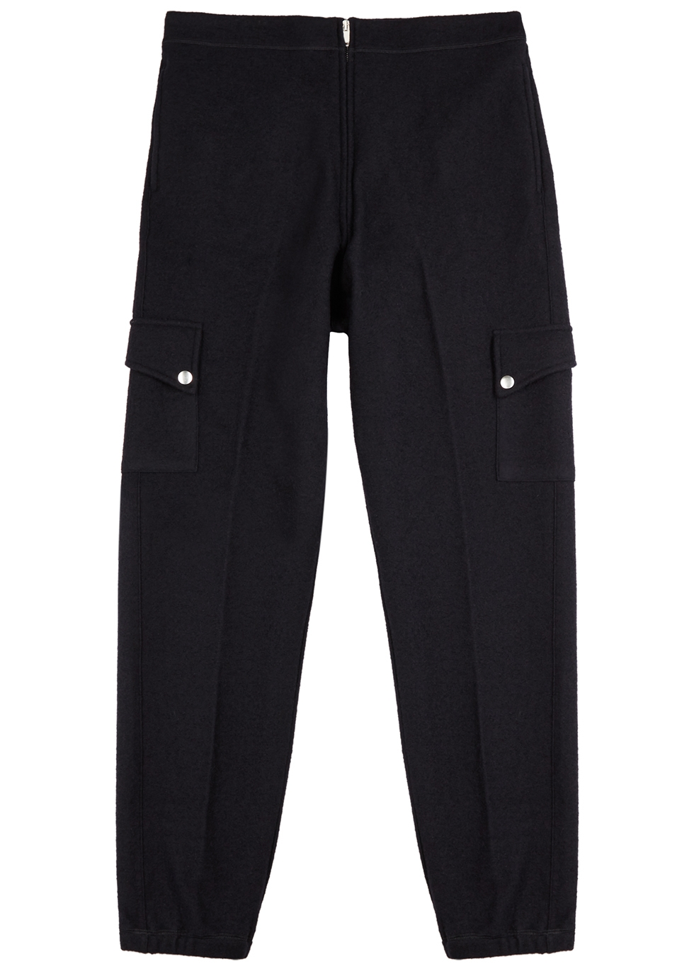 Navy wool-blend cargo trousers