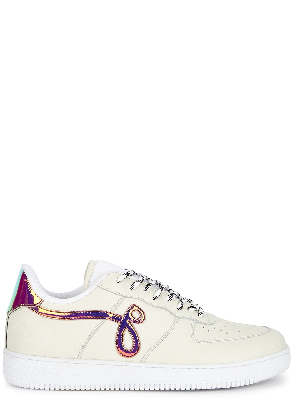 Off-white grained leather sneakers