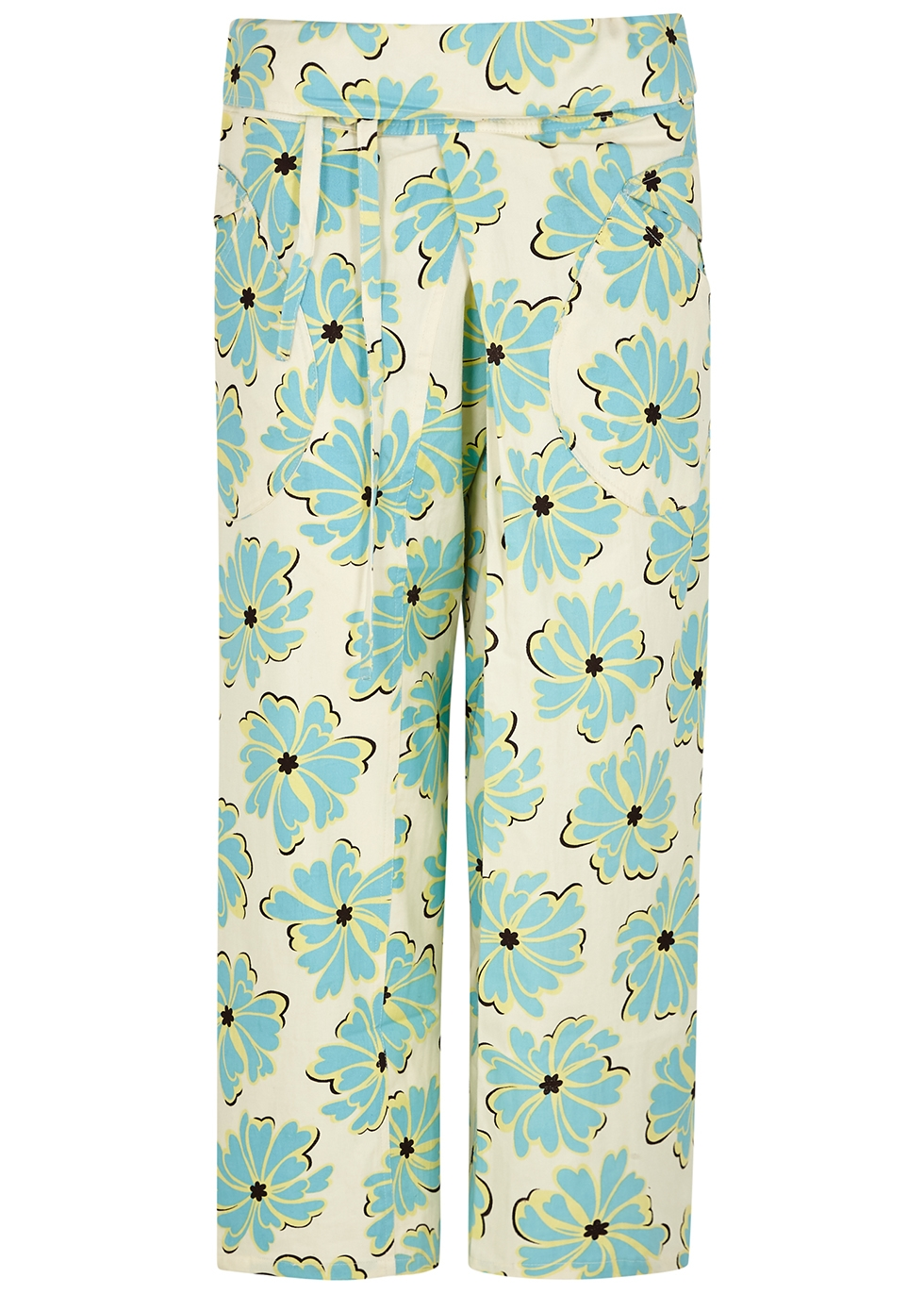 Oahu floral-print cropped cotton trousers