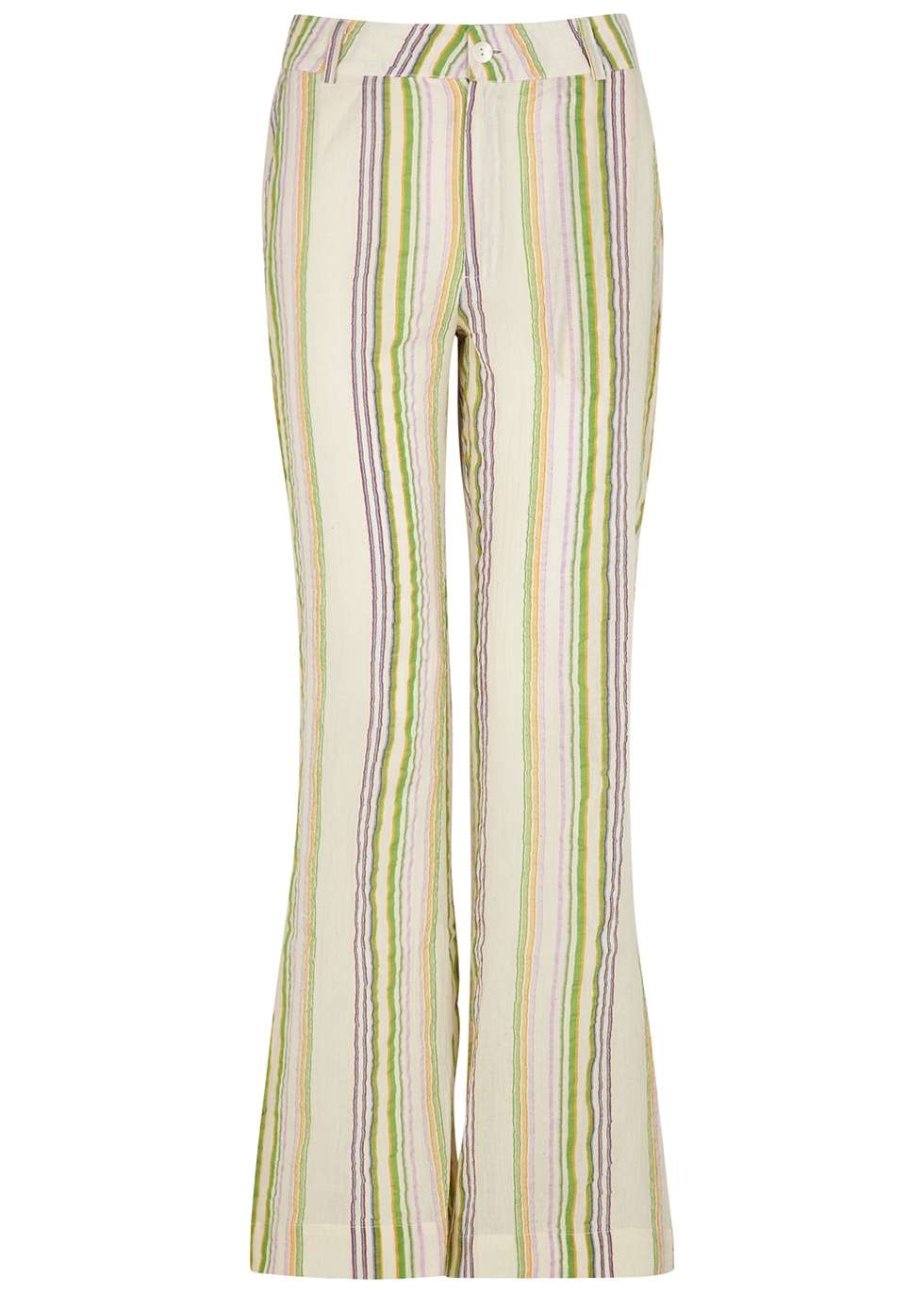 San striped flared cotton trousers