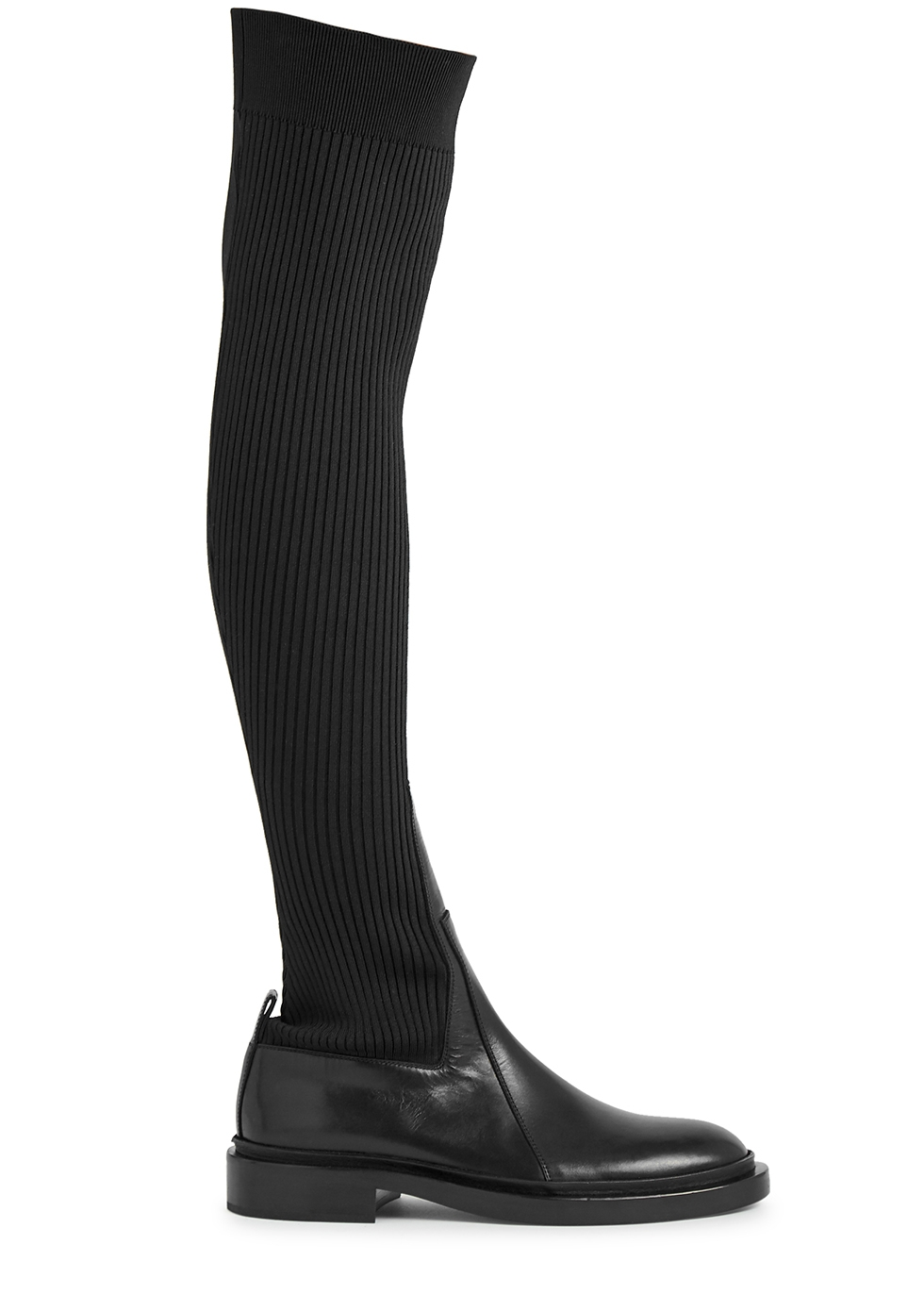 Black leather and jersey knee-high sock boots