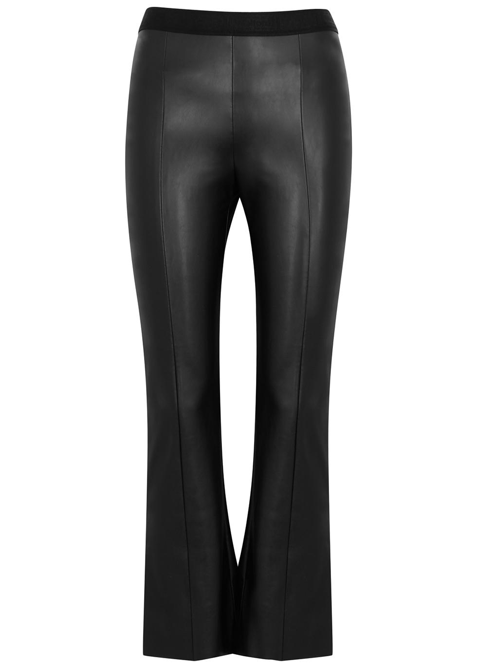 Jenna black faux leather kick-flare trousers