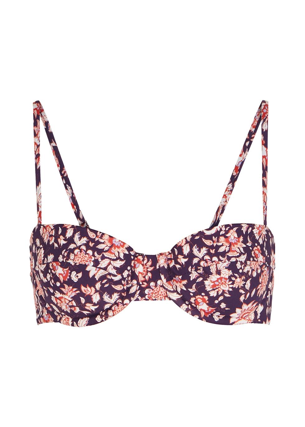 Dyer floral-print underwired bikini top