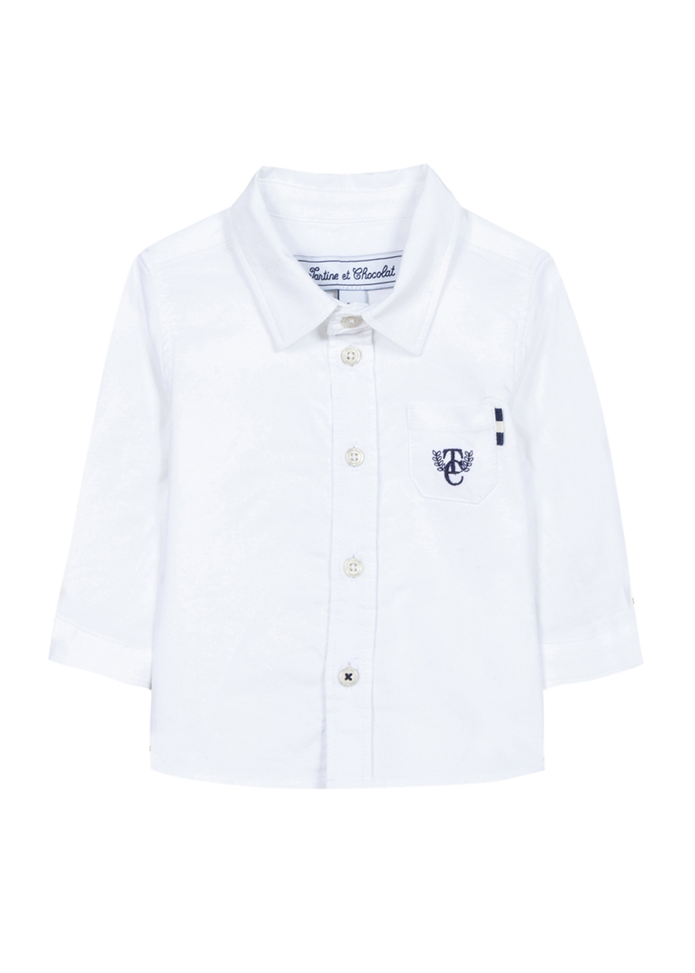 White logo-embroidered cotton shirt (6-12 months)