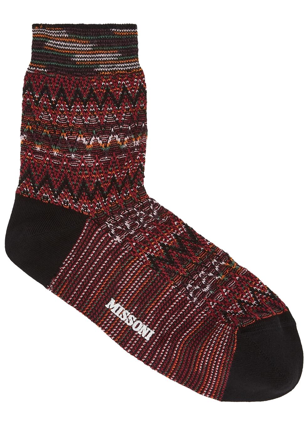 Zigzag cotton-blend socks