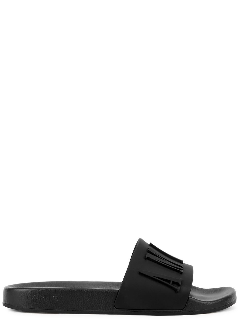Black logo rubber sliders