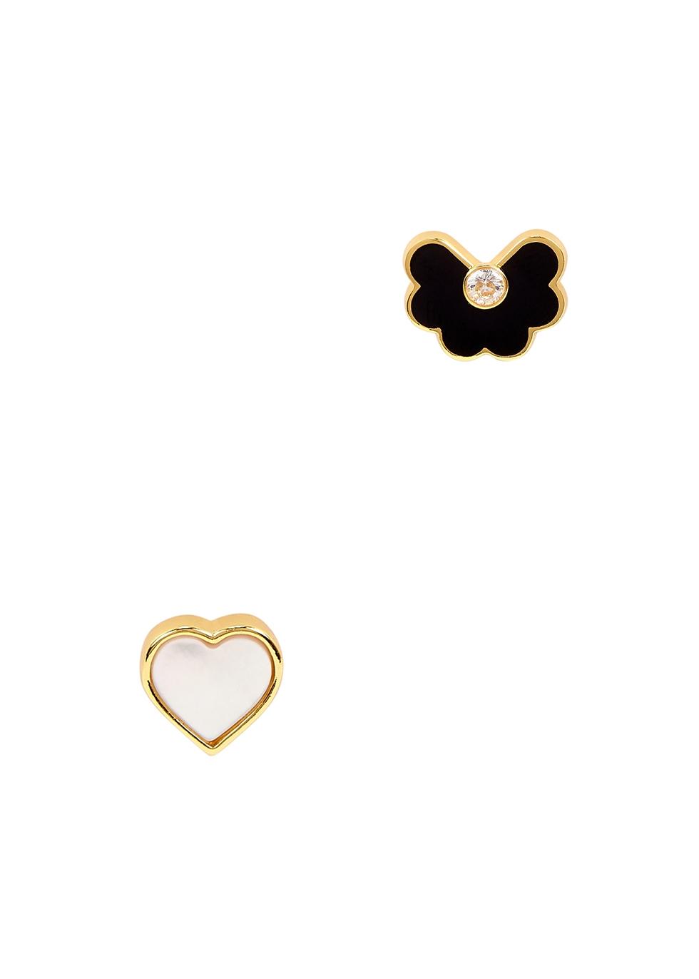 Spade Flower gold-plated stud earrings