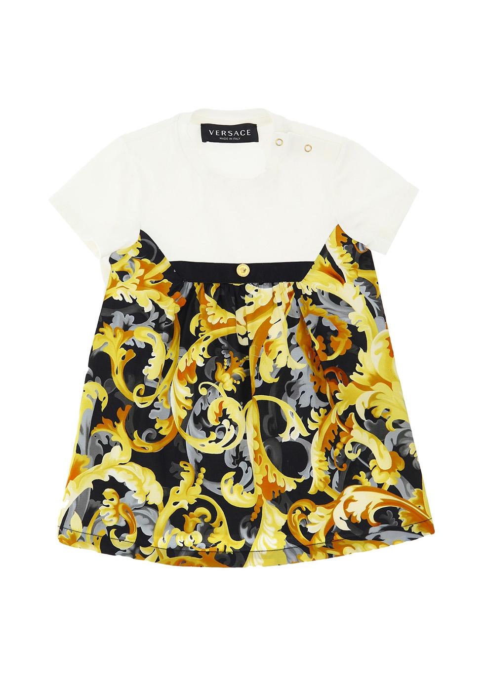 Baroque-print stretch-cotton dress