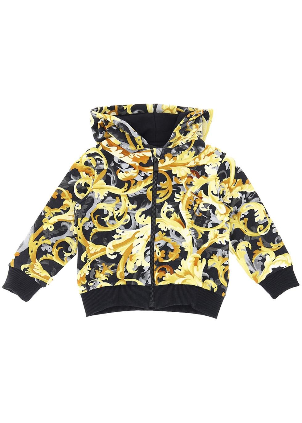 Baroque-print hooded cotton sweatshirt