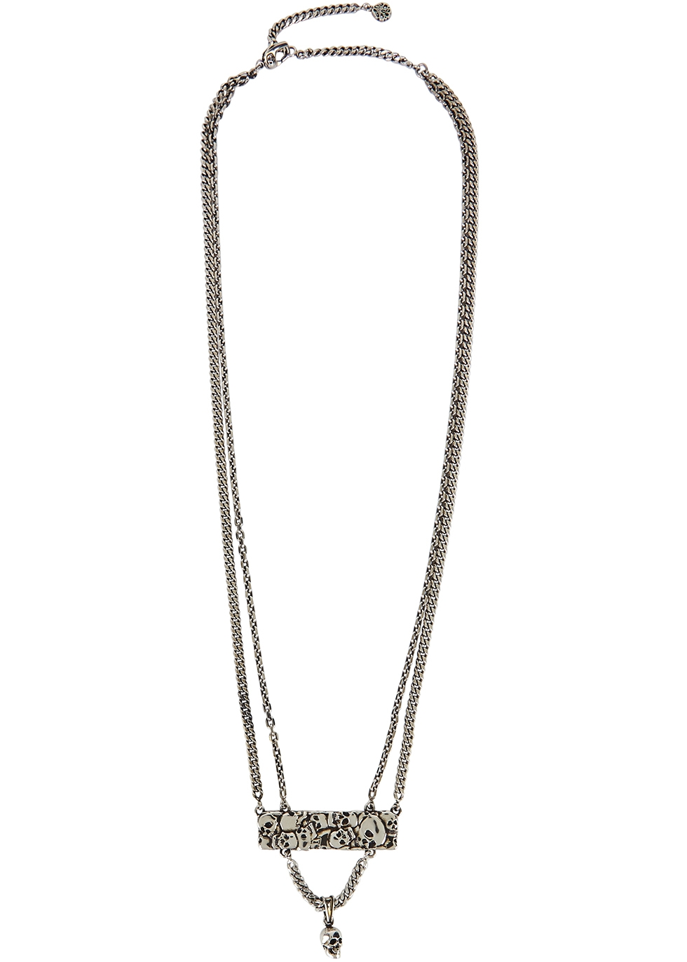 Crushed Skull silver-tone chain necklace