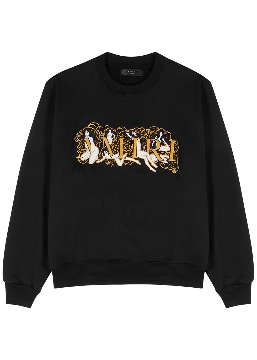 Black embroidered cotton sweatshirt