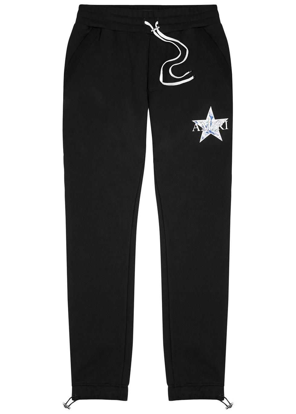 Black printed cotton sweatpants