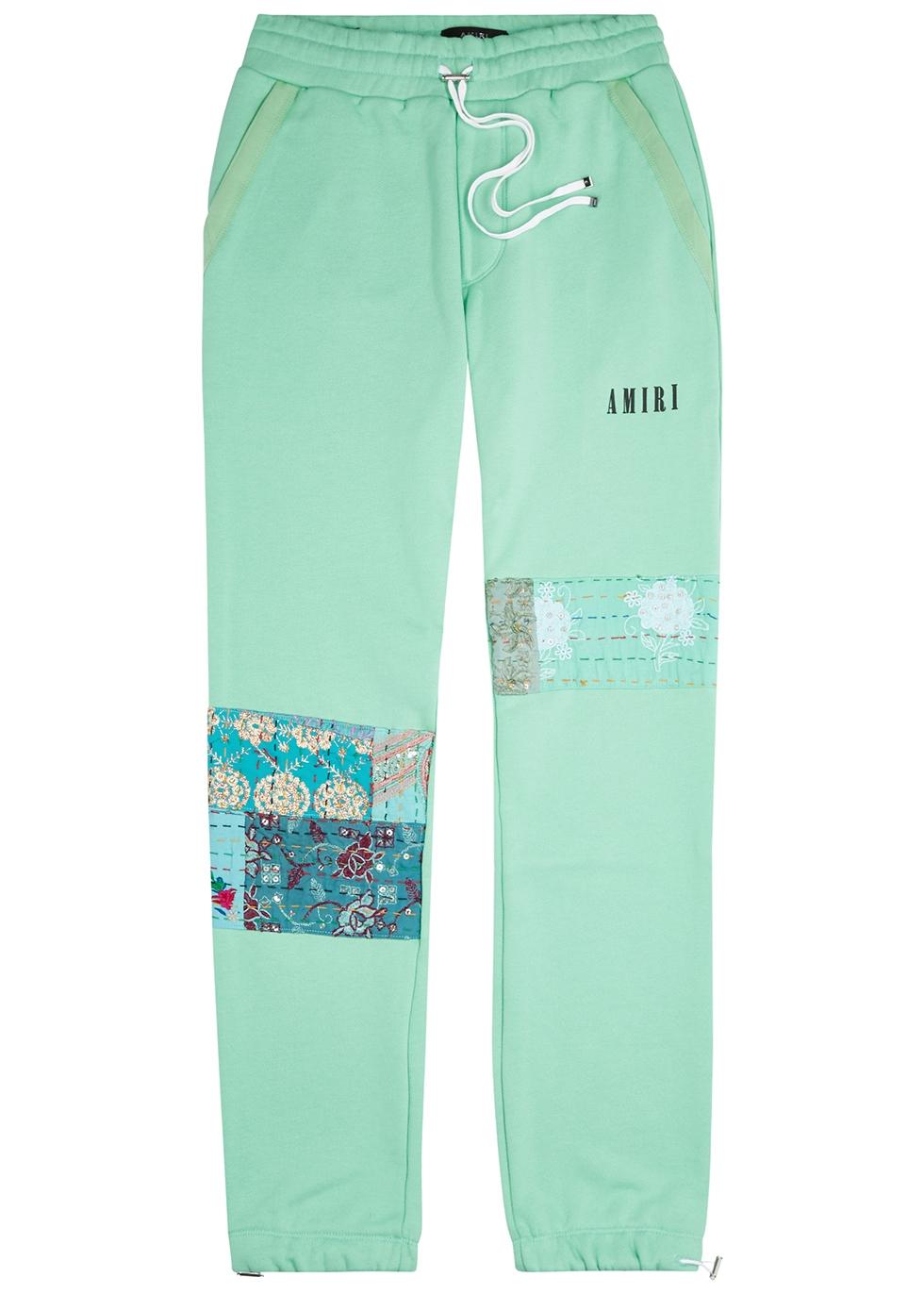 Mint patchwork cotton sweatpants