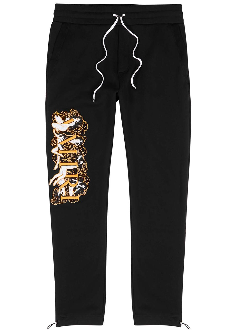 Black embroidered cotton sweatpants