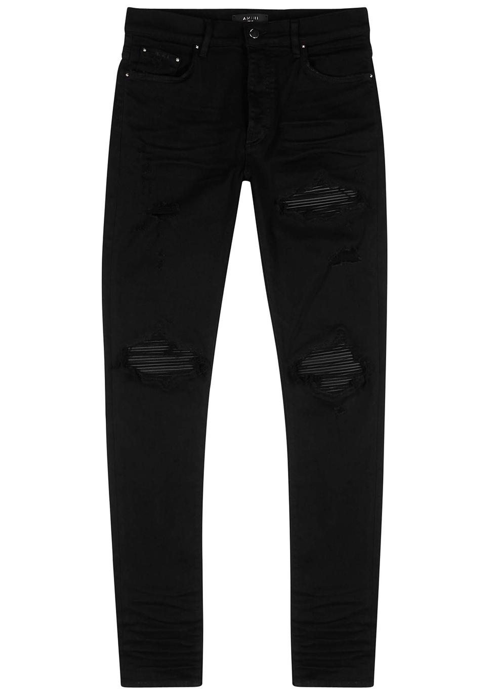 MX1 dark blue distressed skinny jeans