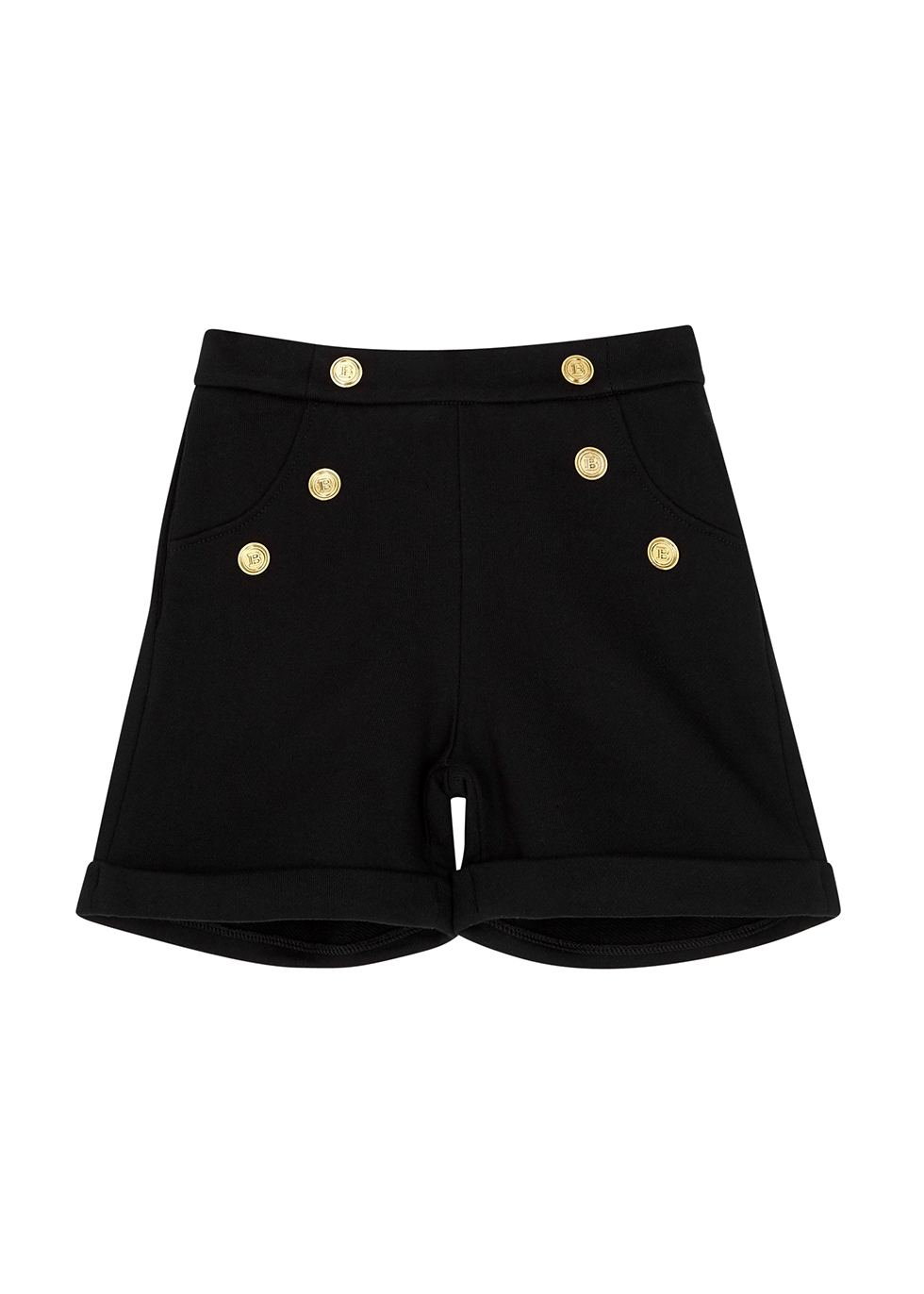 Black button-embellished cotton shorts (4-10 years)