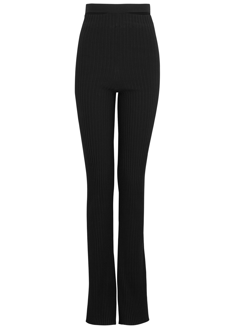 Black cut-out flared trousers