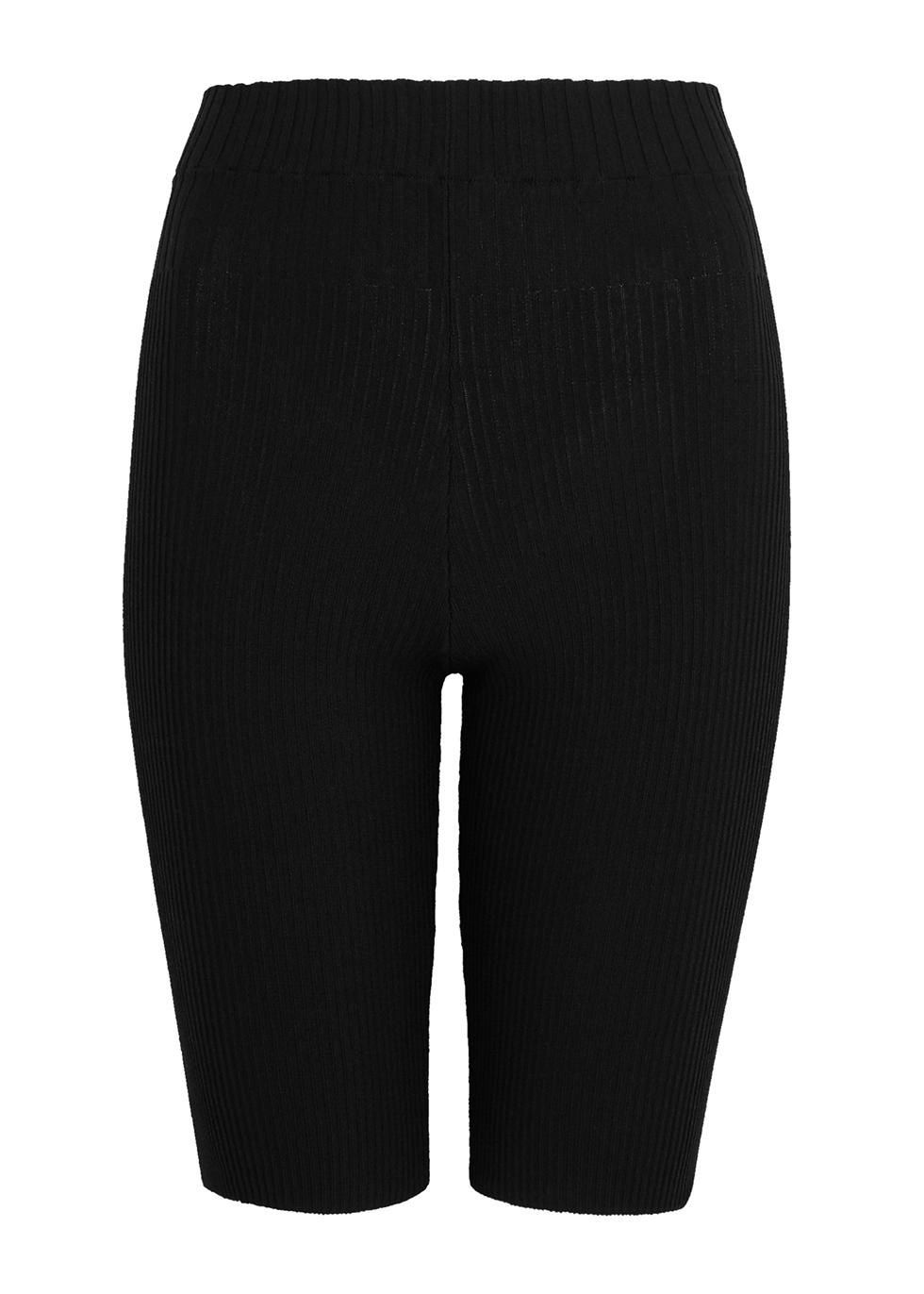 Black ribbed-knit shorts