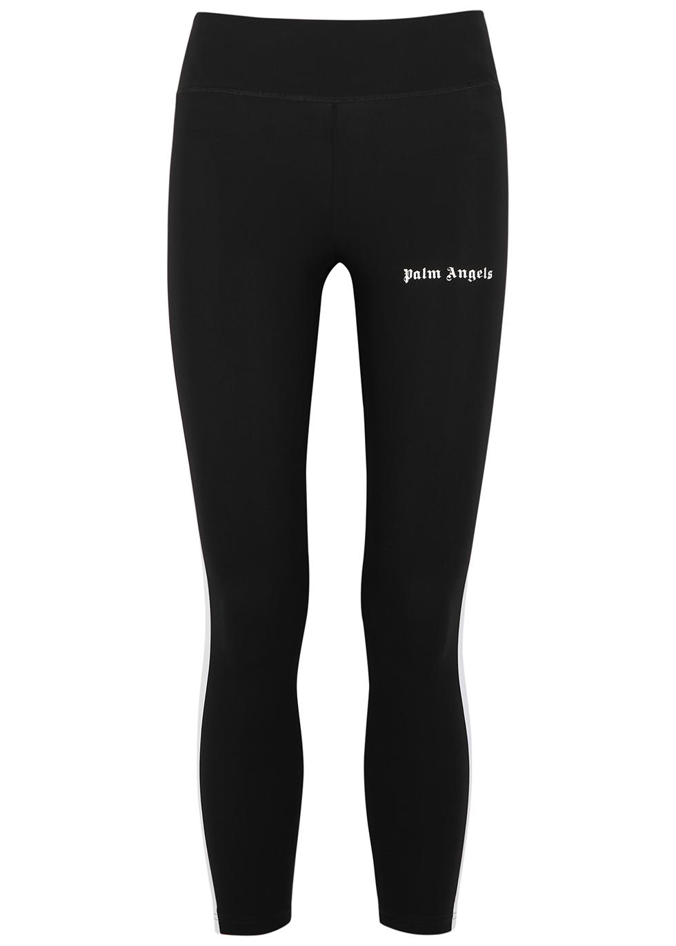 Black striped cropped leggings