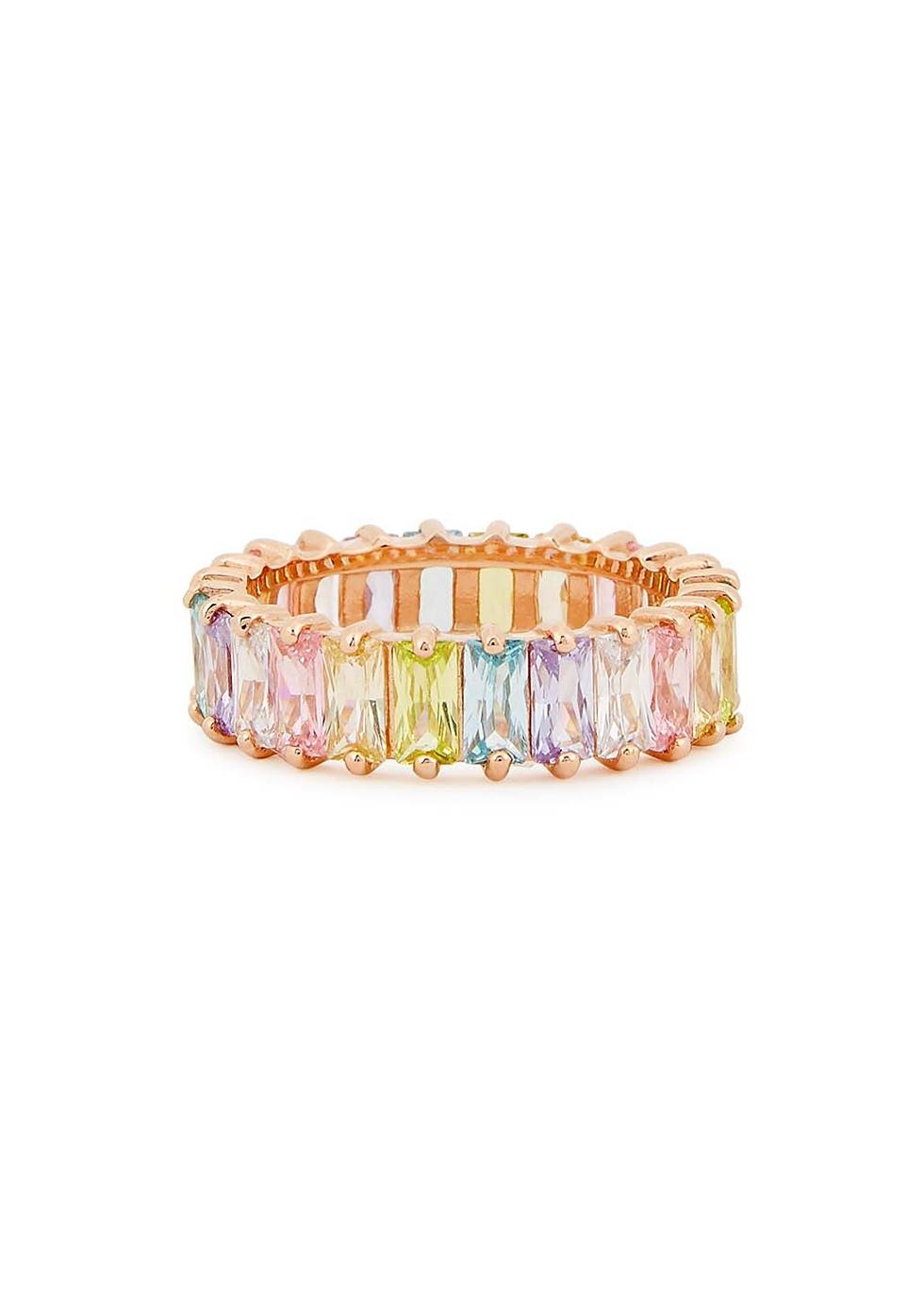 Crystal-embellished 18kt rose gold-plated ring