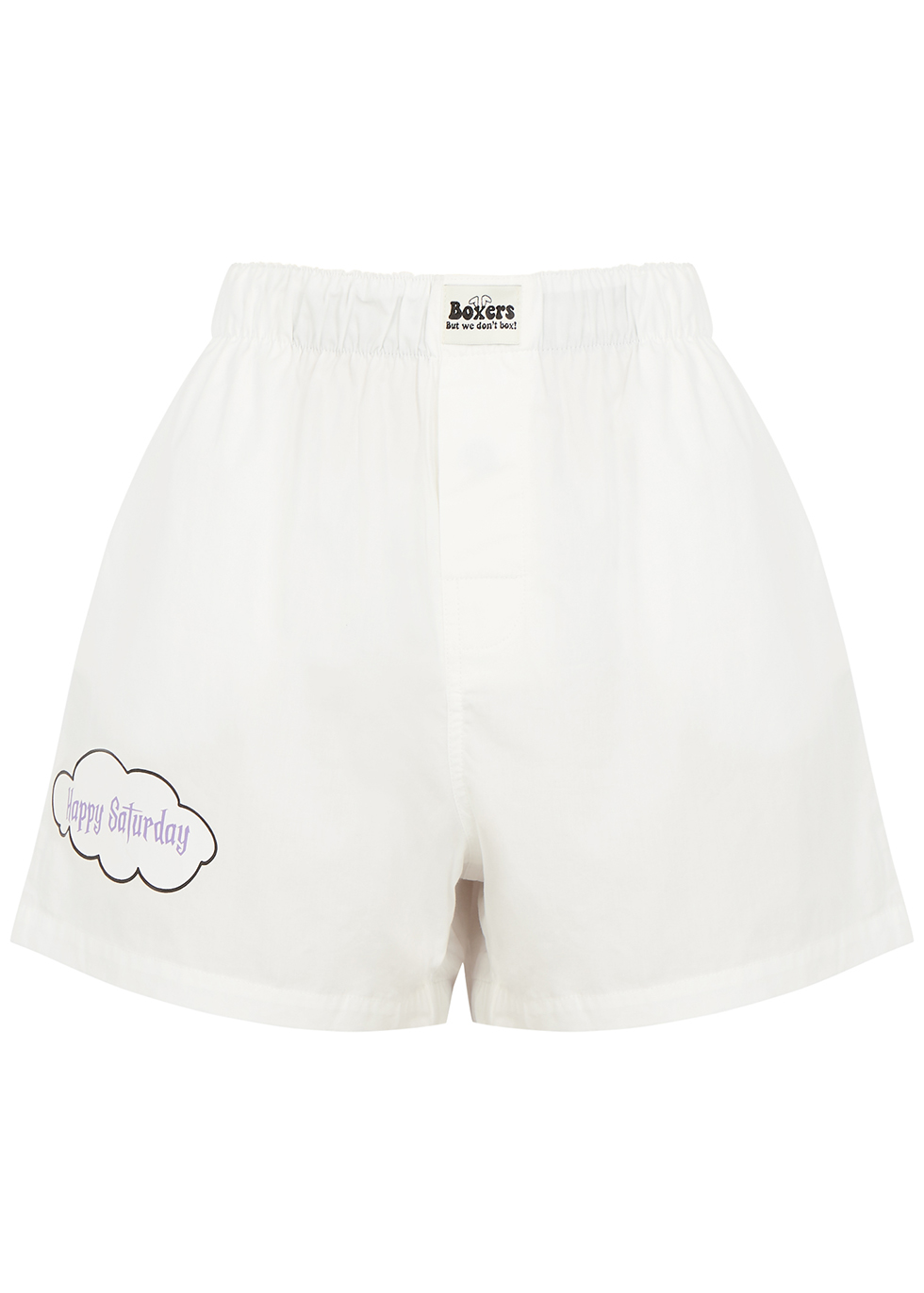 X DUO Happy Saturday white cotton shorts
