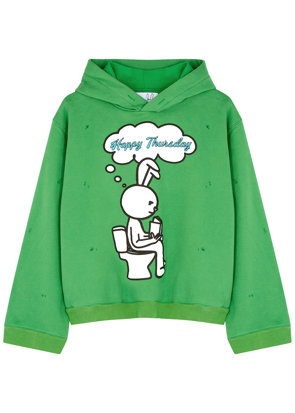 Happy Thursday hooded cotton-blend sweatshirt