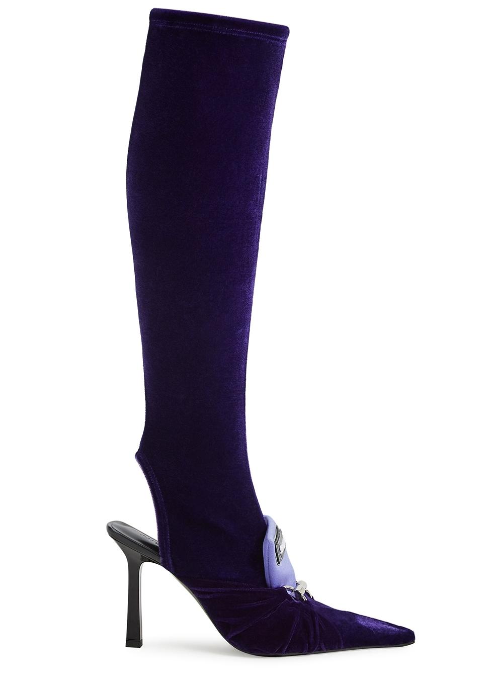 100 purple velvet knee-high sock boots