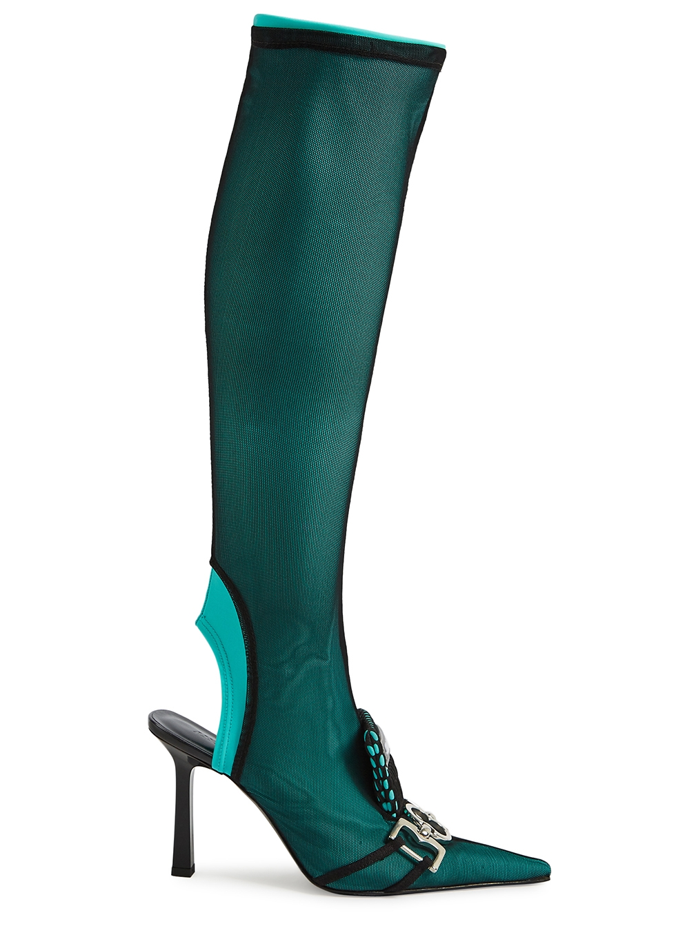 100 turquoise knee-high sock boots
