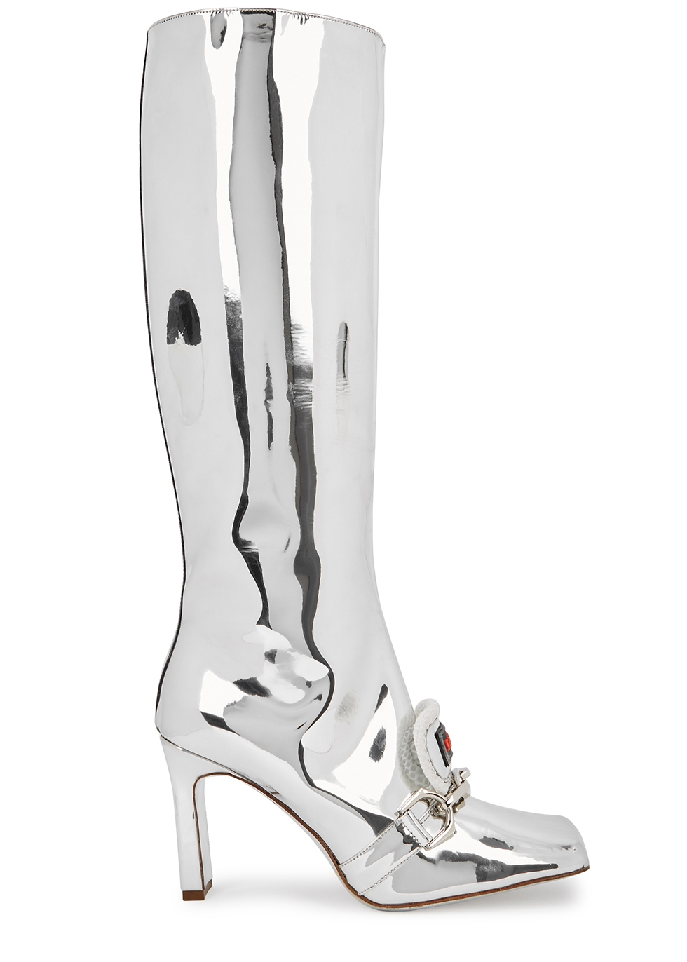 90 silver leather knee-high boots