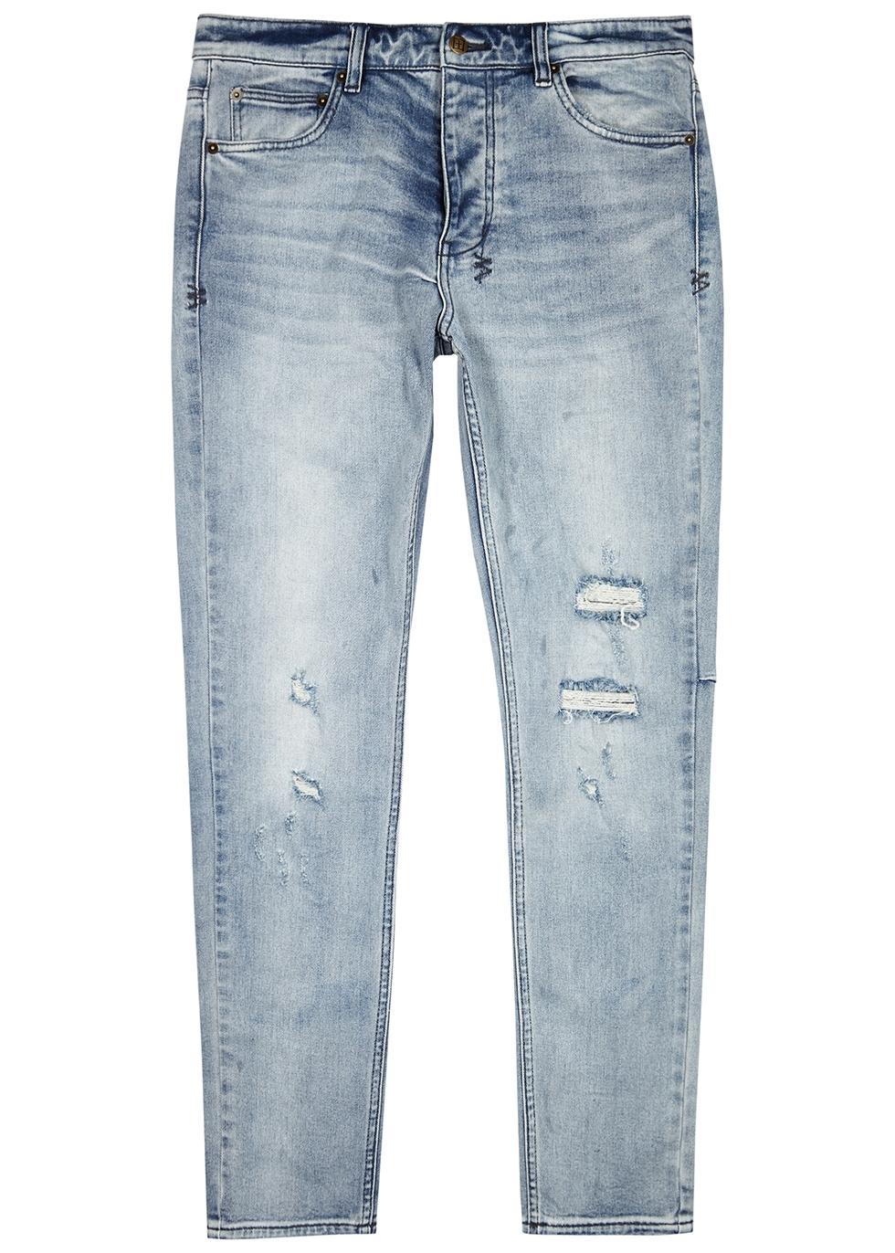 Chitch light blue distressed slim-leg jeans