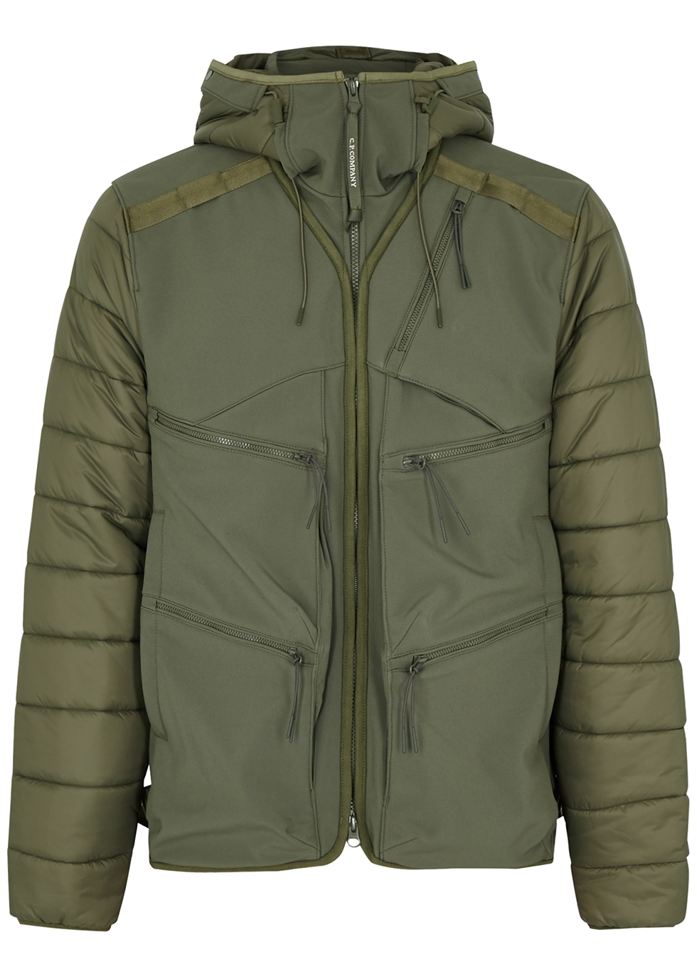 Goggle green quilted shell jacket