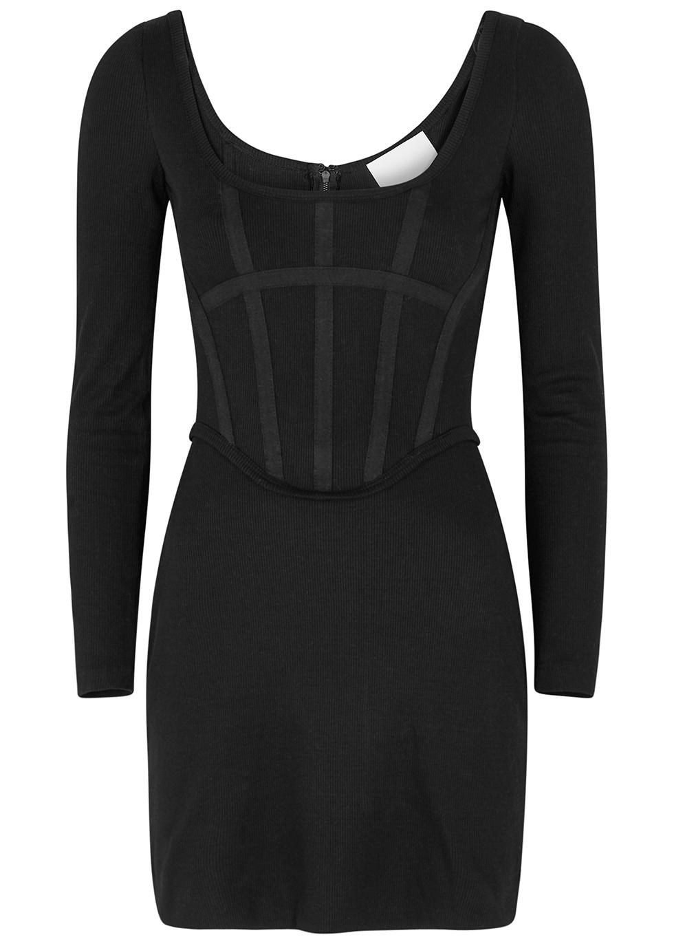 Black ribbed jersey corset mini dress