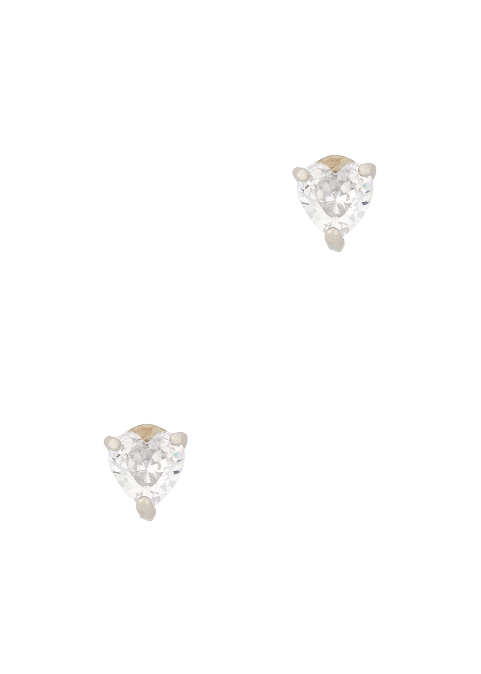Solitaire Heart crystal-embellished stud earrings