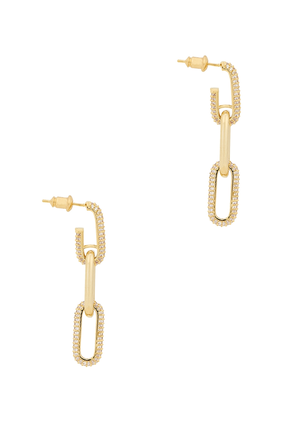 Crystal-embellished gold-plated drop earrings