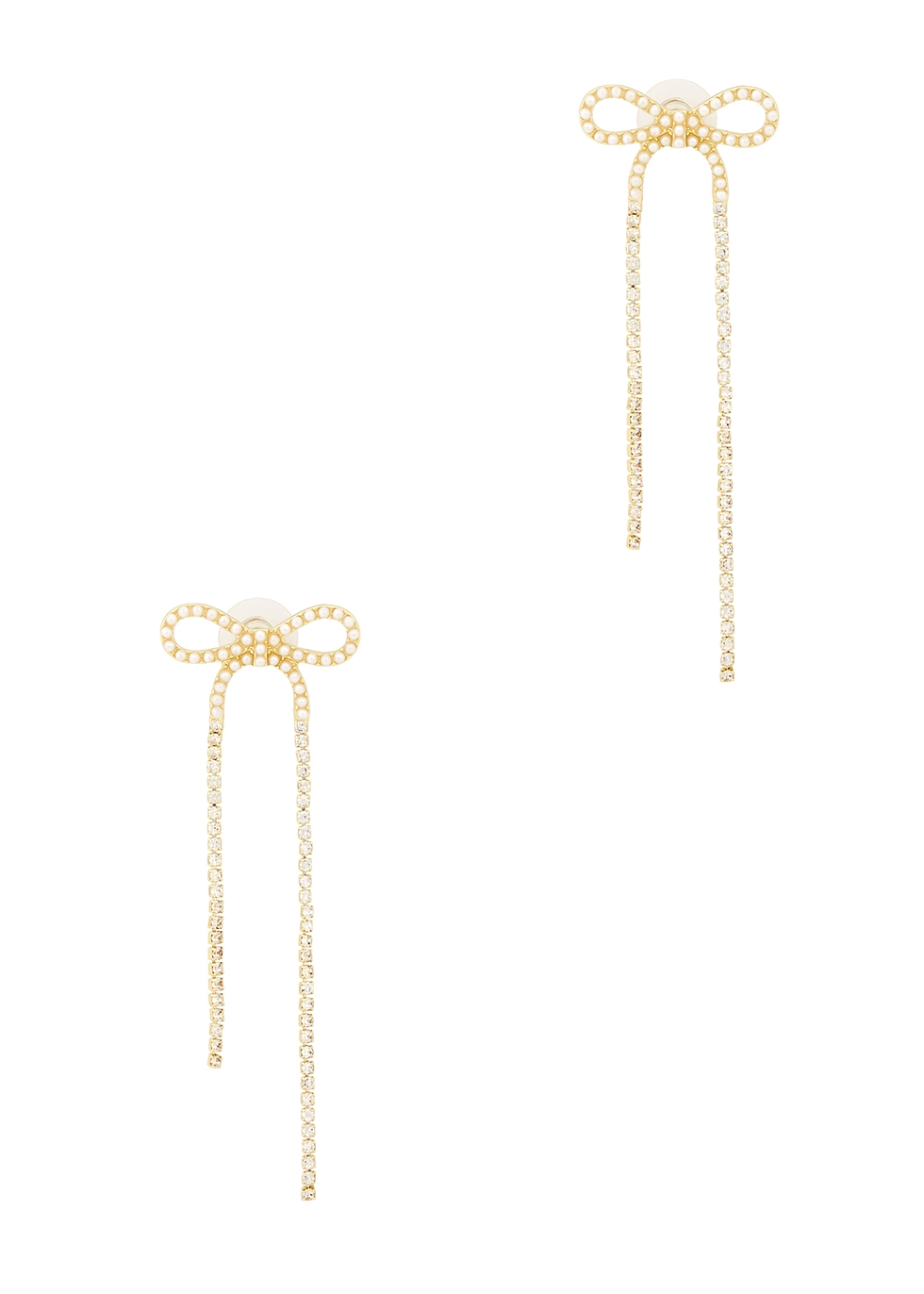 Bow embellished gold-tone drop earrings
