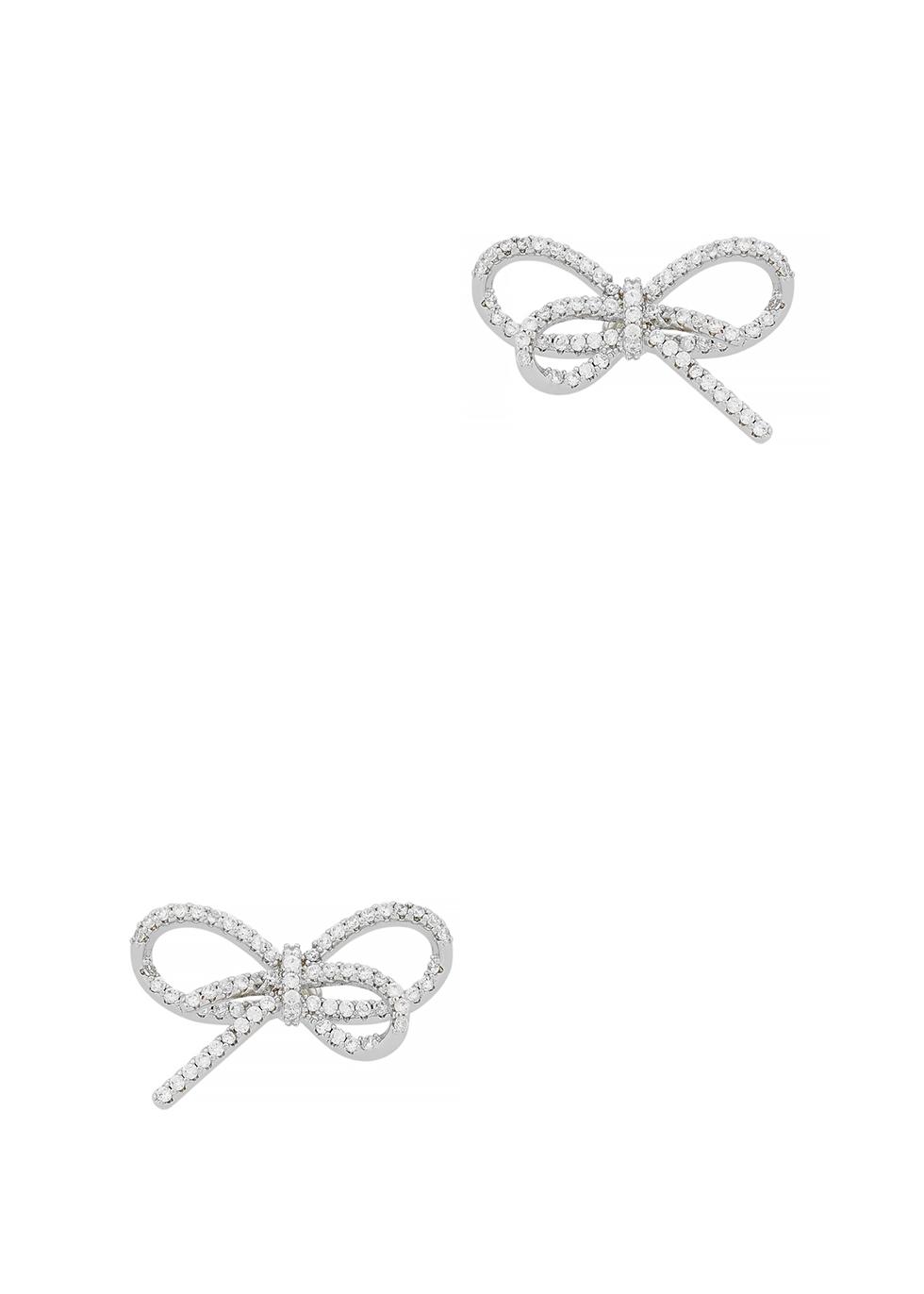 Silver-tone bow earrings